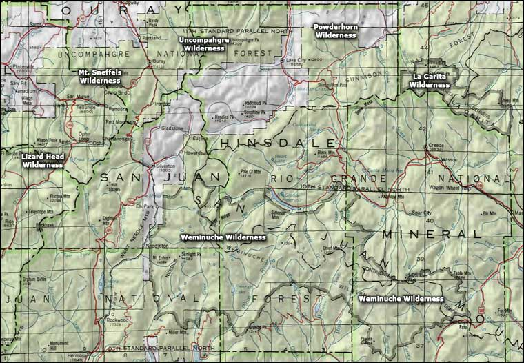 San Juan Mountains area wildernesses