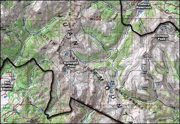 South San Juan Wilderness map