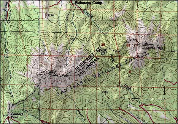 Spanish Peaks Wilderness map