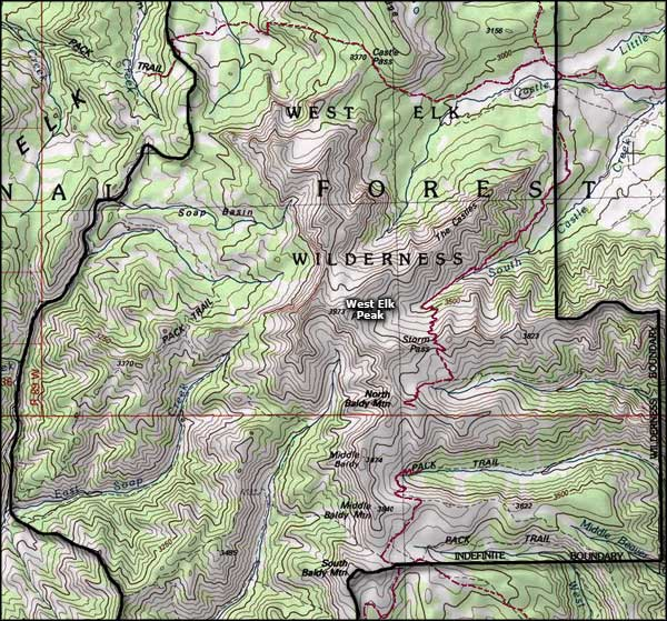 West Elk Wilderness map