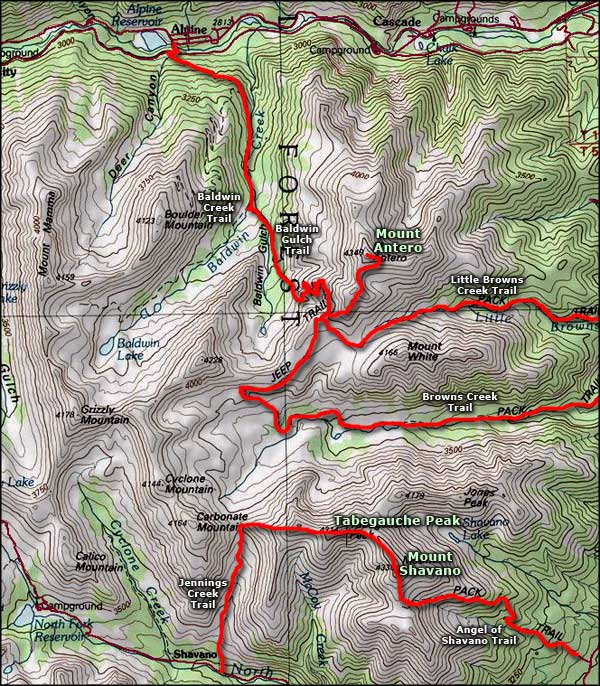 Mount Antero area topo map