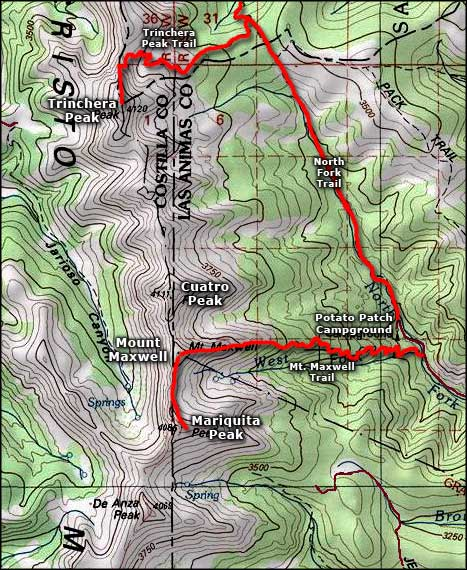 Trinchera Peak area map
