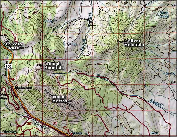 Mount Mestas area topo map