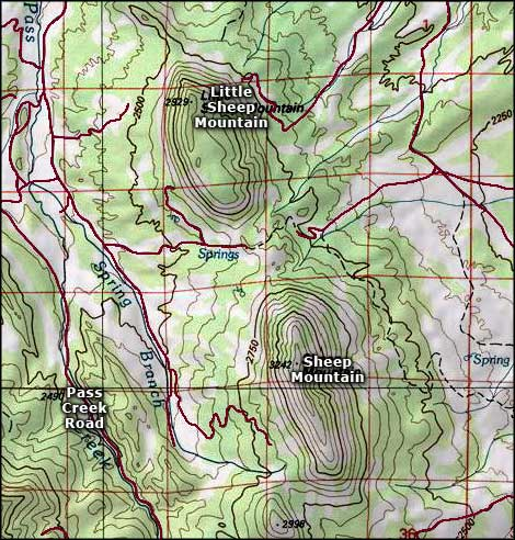 Sheep Mountains area map