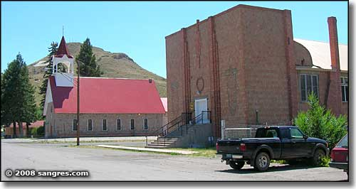 Two churches in Del Norte, Colorado