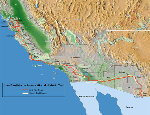 Map of the Juan Bautista de Anza National Historic Trail