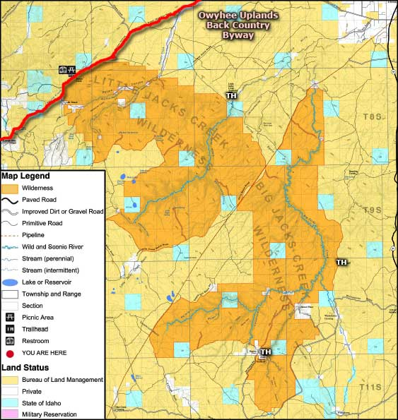 Big Jacks Creek Wilderness map