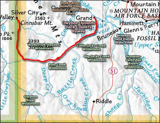 Owyhee River Wilderness area map