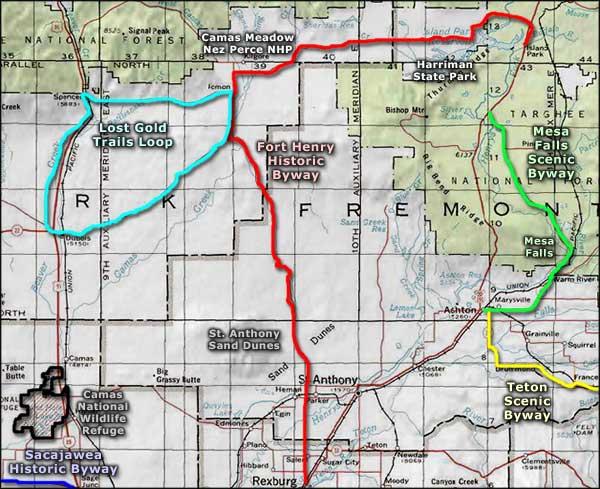 mesa falls idaho map Mesa Falls Scenic Byway mesa falls idaho map