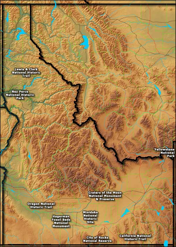 Locations of the National Park Service sites in Idaho