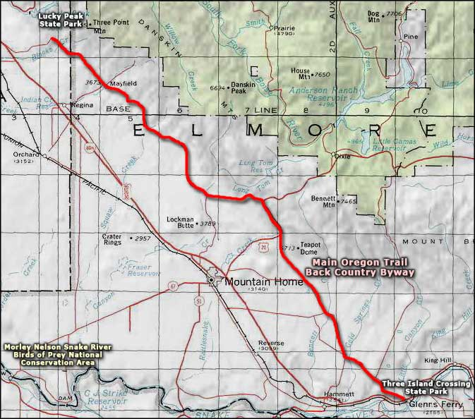 Main Oregon Trail Back Country Byway map