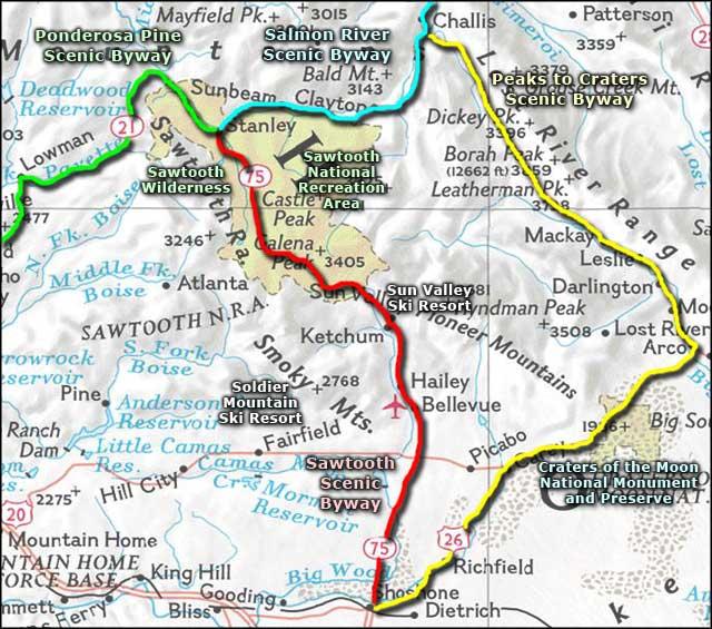 Scenic byways map sawtoothareamap01jpg 640565  Idaho Trip