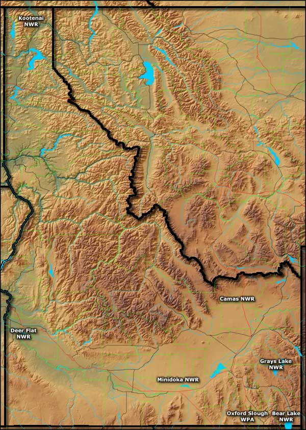 Map of National Wildlife Refuges in Idaho
