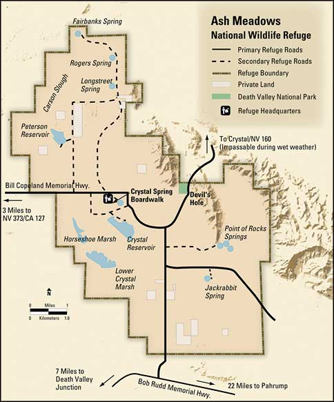 Ash Meadows National Wildlife Refuge area map