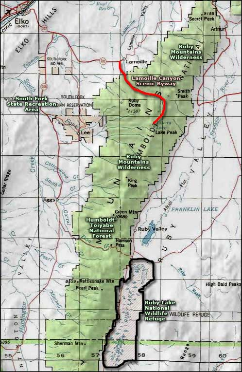 Lamoille Canyon Scenic Byway area map