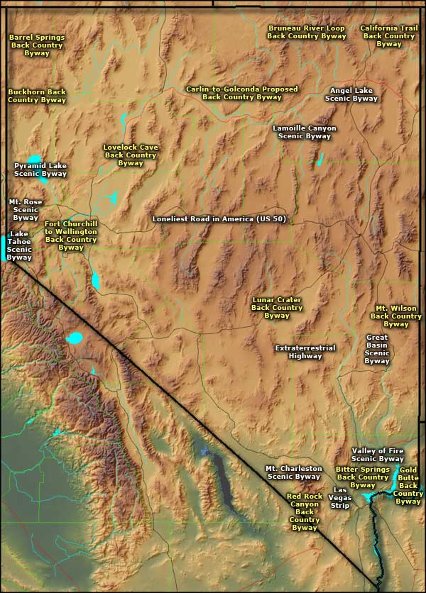 Nevada Scenic Byways map
