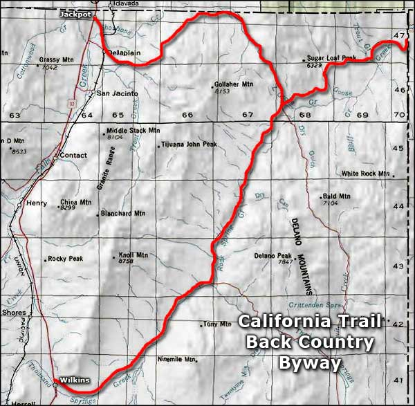 California Trail Back Country Byway area map