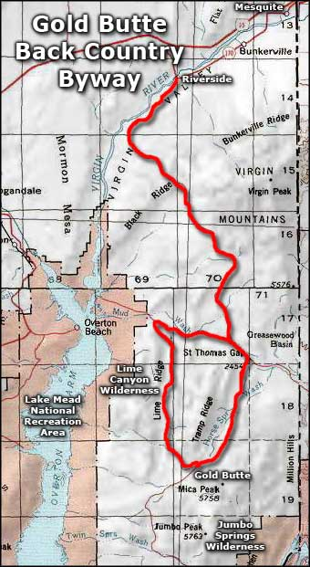 Gold Butte Back Country Byway area map
