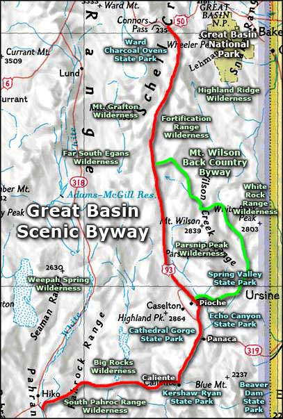 Mount Wilson Back Country Byway area map