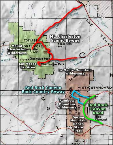 Red Rock Canyon Back Country Byway area map