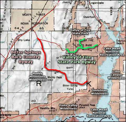 Valley of Fire State Park Scenic Byway area map