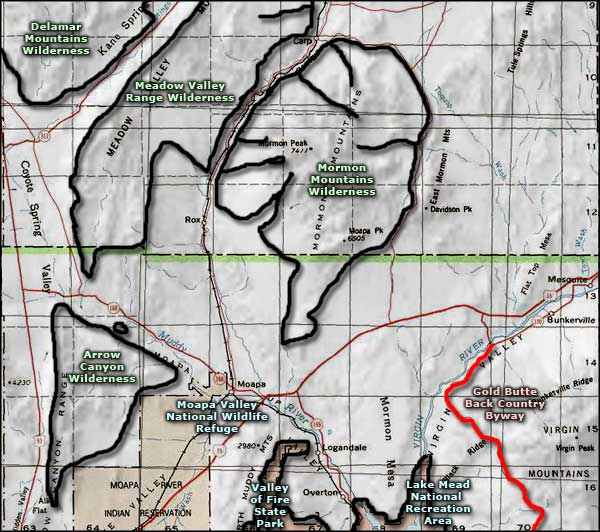 Moapa Valley National Wildlife Refuge area map