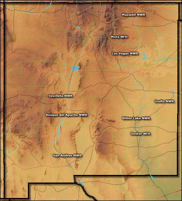 Map of National Wildlife Refuges in New Mexico