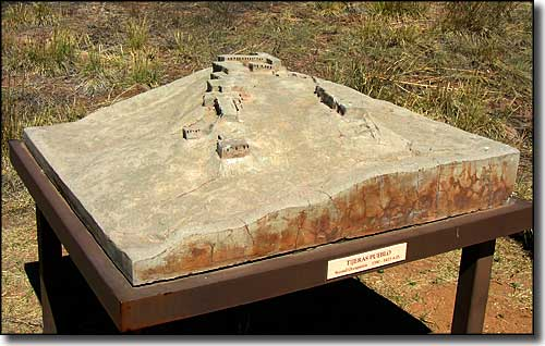 A model of what Tijeras Pueblo may have looked like back in the day