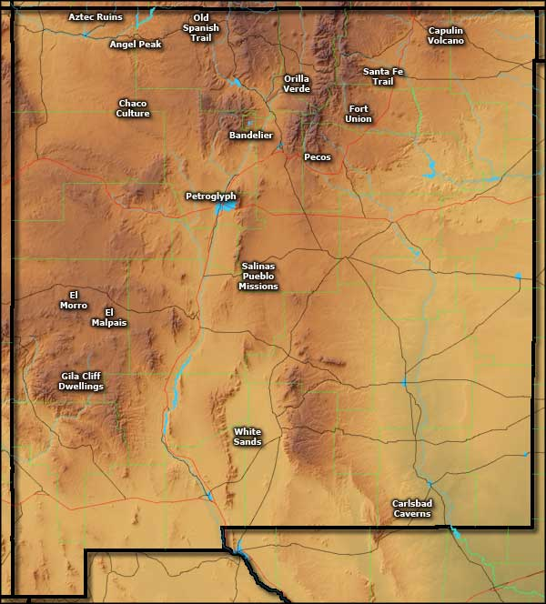 Map showing the locations of the National Park Service Sites in New Mexico