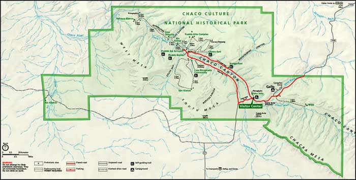 Map of Chaco Culture National Historical Park