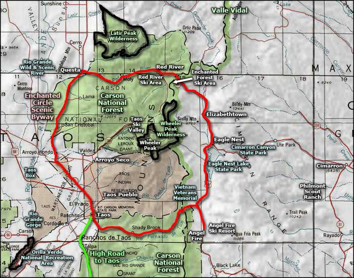 Wheeler Peak Wilderness area map