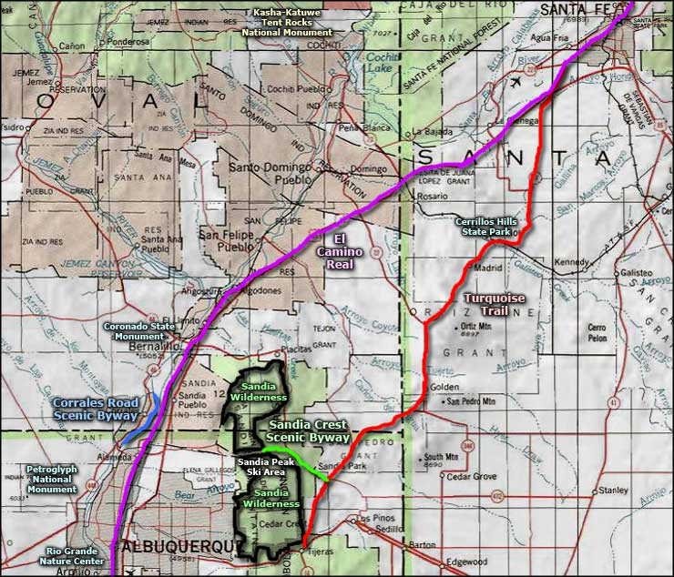 Sandia Mountain Wilderness area map
