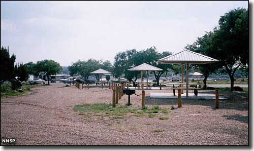 Picnic shelters and developed campsites at Conchas Lake State Park
