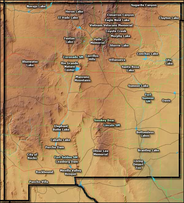 New Mexico State Parks location map