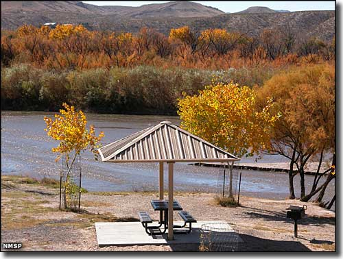 Picnic site beside the Rio Grande at Leasburg Dam State Park