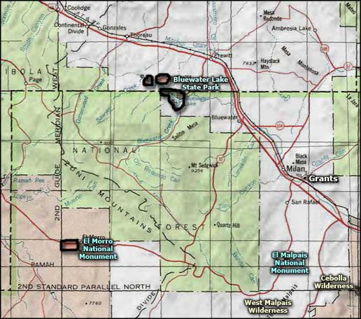 El Morro National Monument area map