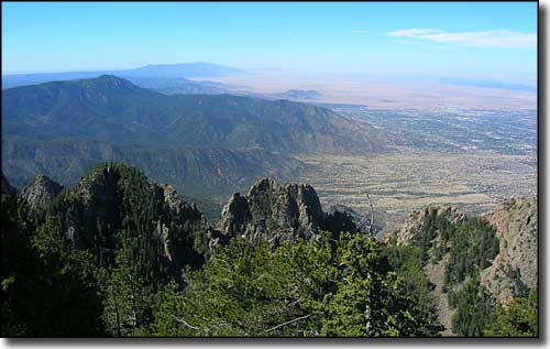 Looking south from the observation deck at the summit of Sandia Peak