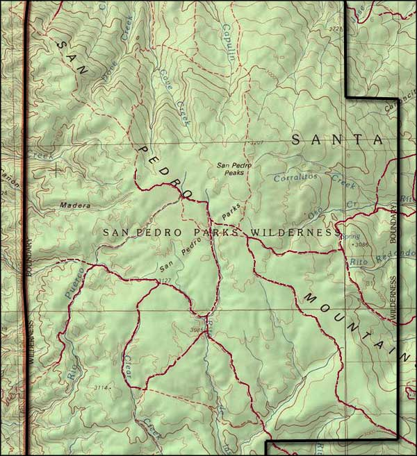 San Pedro Parks Wilderness map