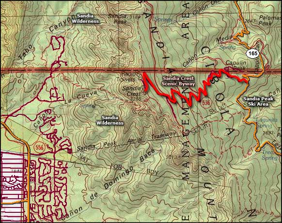 Sandia Mountain Wilderness map