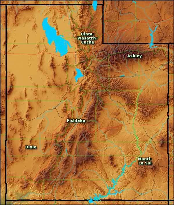 Locations of the National Forests in Utah