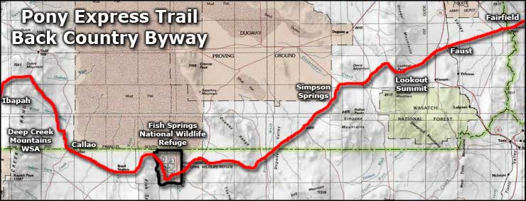 Pony Express Trail Back Country Byway area map