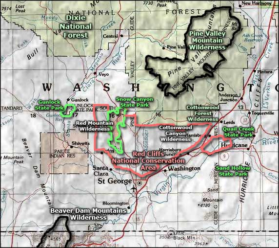 Beaver Dam Mountains Wilderness area map