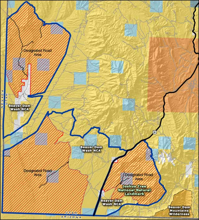 Map of Beaver Dam Wash National Conservation Area