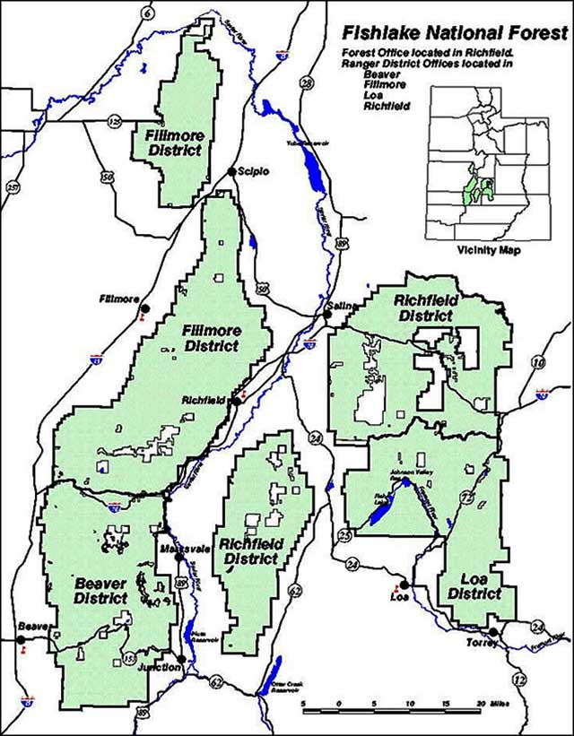 Map of Fishlake National Forest