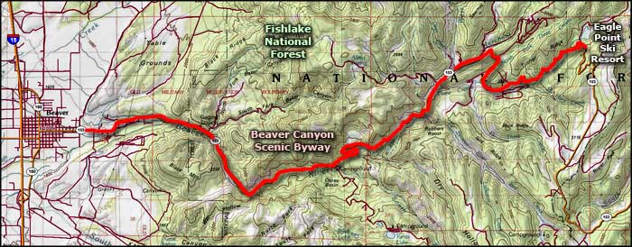 Beaver Canyon Scenic Byway area map