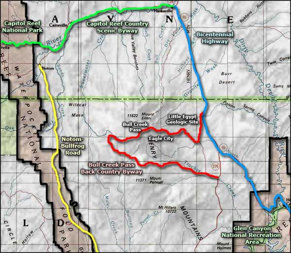 Bull Creek Pass Back Country Byway area map