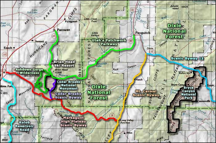 Utah's Patchwork Parkway area map