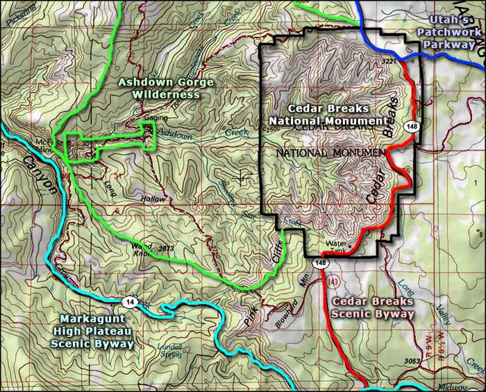 Cedar Breaks National Monument area map