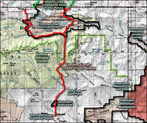 Flaming Gorge-Uintas Scenic Byway area map