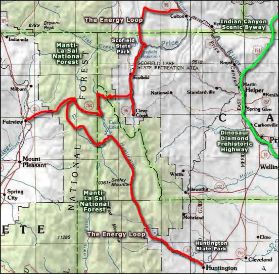 Energy Loop Scenic Byway area map